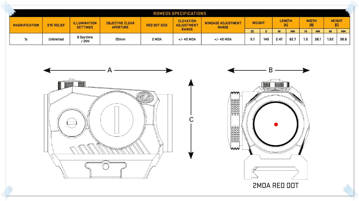 3-1 実物 SIG SAUER ROMEO5 & AMERICAN DEFENSE PIECE MRO MOUNT & TACTICAL LEVER UPGRADE ドットサイト カスタム オプション おすすめ 取付 レビュー romeo5_1x20mm-specs