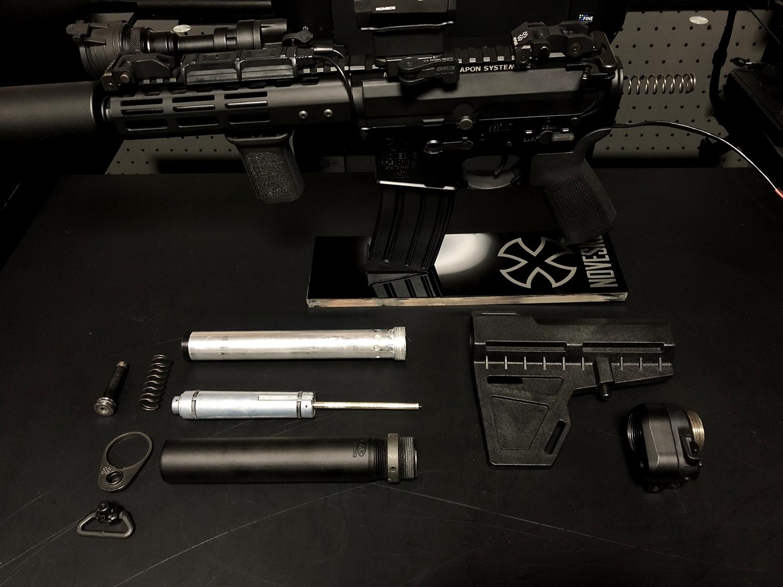 18 次世代 M4 CQB-R 電動ガン 実物 KAK SHOCKWAVE BLADE PISTOL AR-15 ストック 取付 改造 カスタム 大作戦 第六弾!! オリジナル次世代リコイル製作&溶接・ネジタップ 3Dプリントパーツ製作作業!! 実銃 ストックパイ