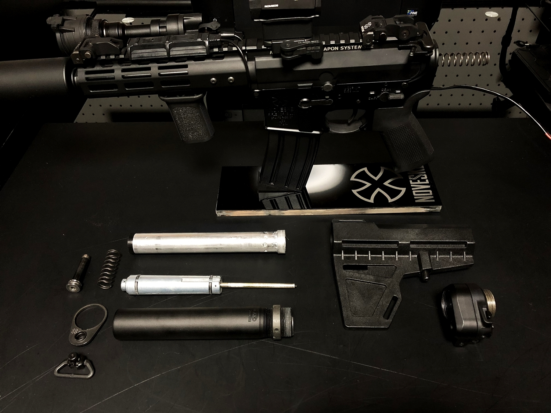 1 次世代 M4 CQB-R 電動ガン 実物 KAK SHOCKWAVE BLADE PISTOL AR-15 ストック 取付 改造 カスタム 大作戦 第7弾完結!! 最終 組み立て作業 & 初速 調整!! 実銃 ストックパイプ AR フォールディング 取付 リコイル ス