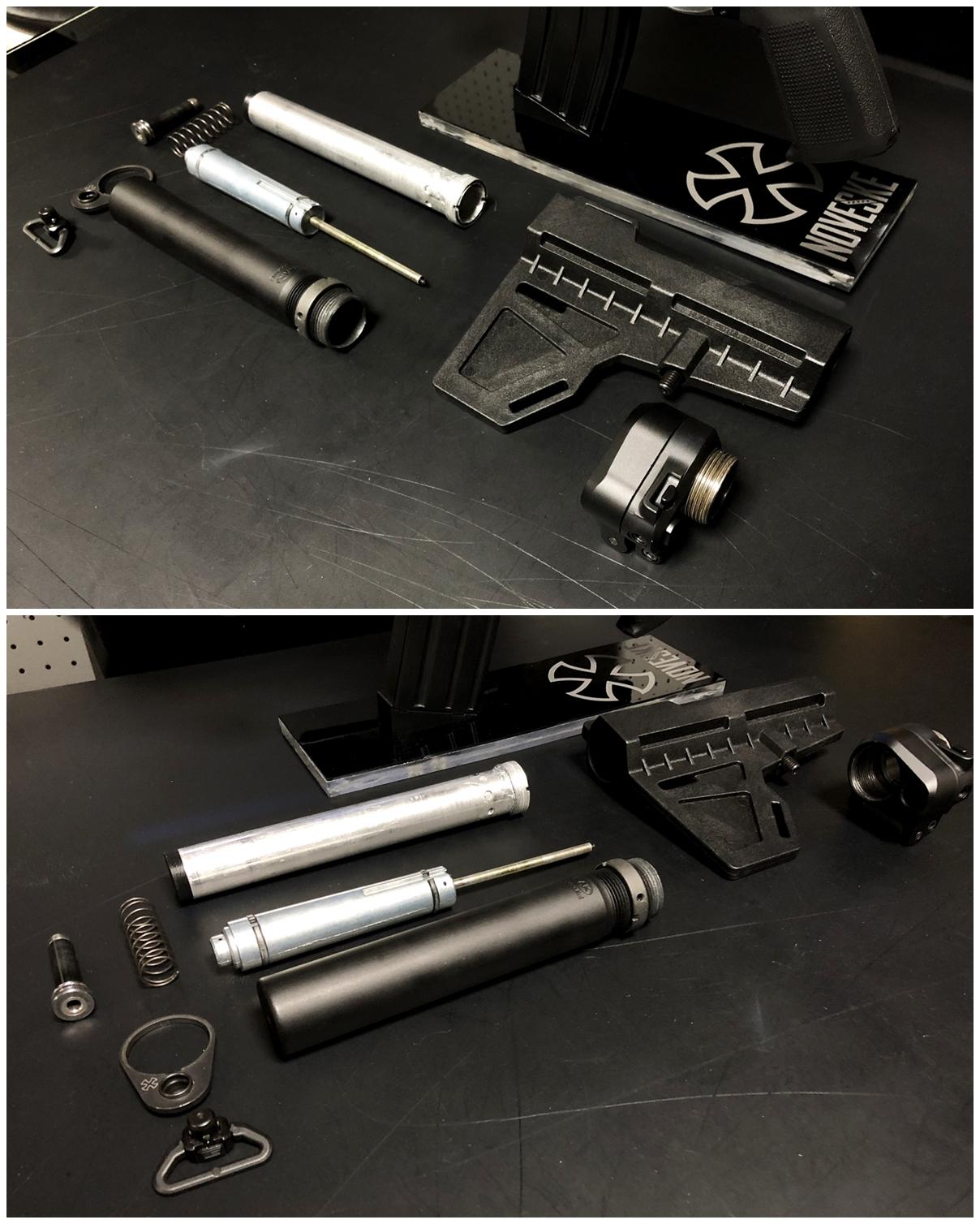 2 次世代 M4 CQB-R 電動ガン 実物 KAK SHOCKWAVE BLADE PISTOL AR-15 ストック 取付 改造 カスタム 大作戦 第7弾完結!! 最終 組み立て作業 & 初速 調整!! 実銃 ストックパイプ AR フォールディング 取付 リコイル ス