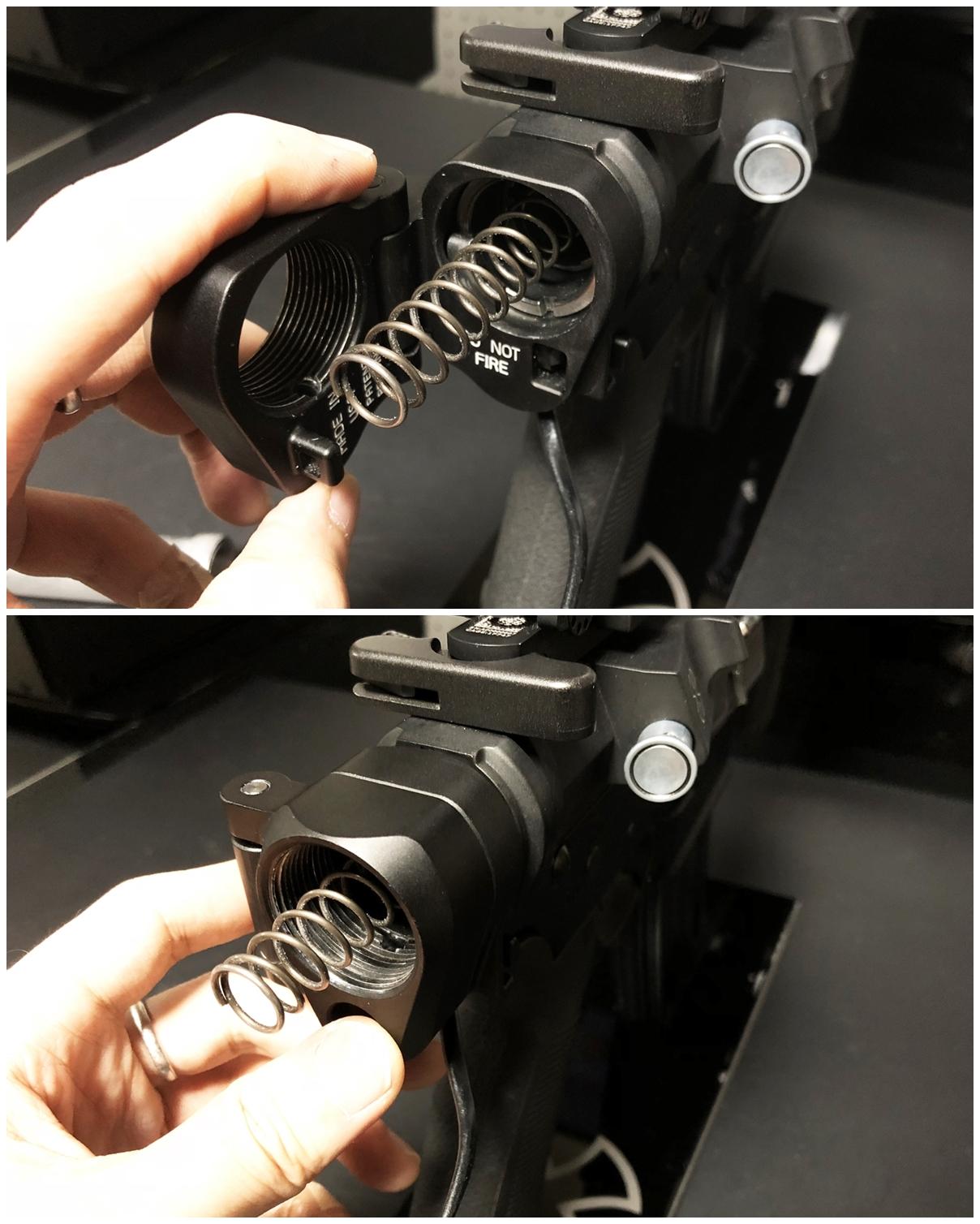 14 次世代 M4 CQB-R 電動ガン 実物 KAK SHOCKWAVE BLADE PISTOL AR-15 ストック 取付 改造 カスタム 大作戦 第7弾完結!! 最終 組み立て作業 & 初速 調整!! 実銃 ストックパイプ AR フォールディング 取付 リコイル