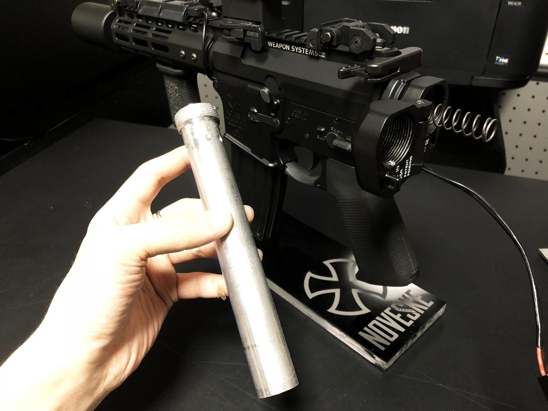 16 次世代 M4 CQB-R 電動ガン 実物 KAK SHOCKWAVE BLADE PISTOL AR-15 ストック 取付 改造 カスタム 大作戦 第7弾完結!! 最終 組み立て作業 & 初速 調整!! 実銃 ストックパイプ AR フォールディング 取付 リコイル
