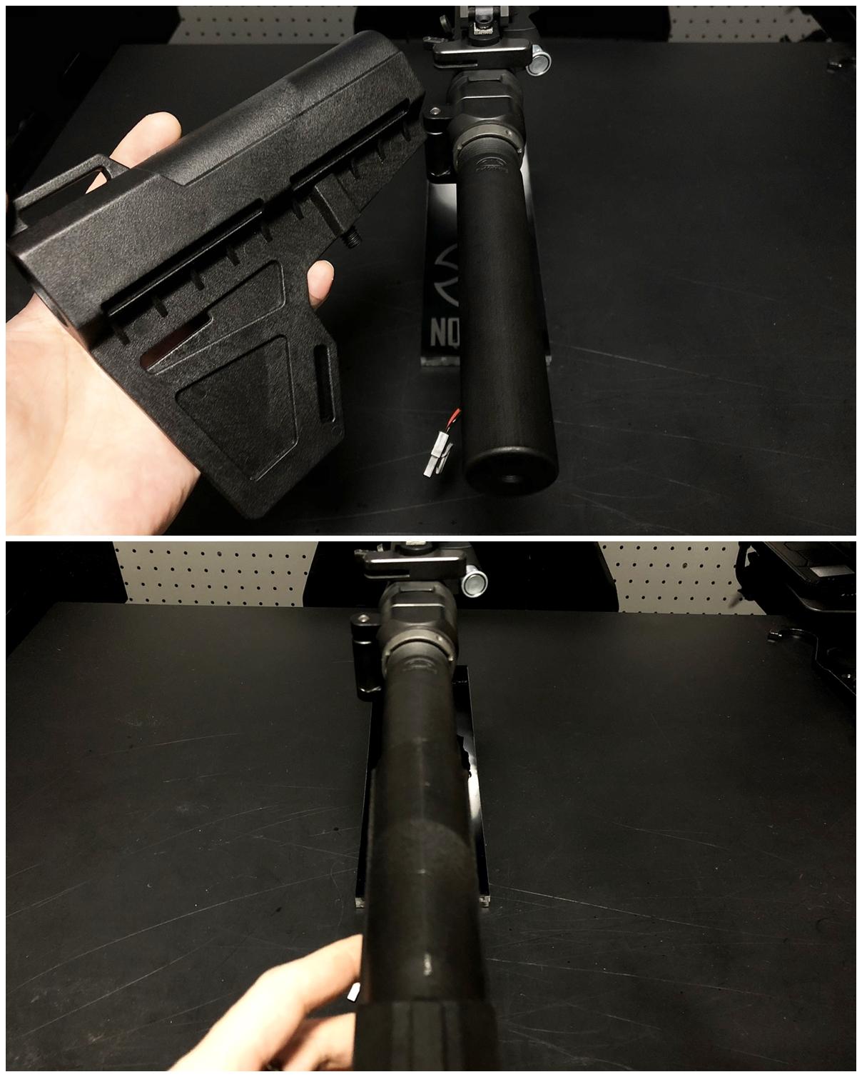 31 次世代 M4 CQB-R 電動ガン 実物 KAK SHOCKWAVE BLADE PISTOL AR-15 ストック 取付 改造 カスタム 大作戦 第7弾完結!! 最終 組み立て作業 & 初速 調整!! 実銃 ストックパイプ AR フォールディング 取付 リコイル