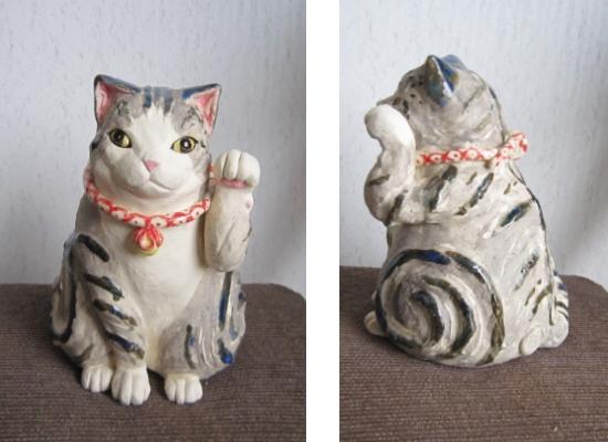 スコティッシュ招猫青色#めいこ #ネコ #猫 #陶器 #陶猫芸家