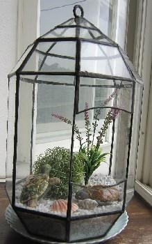 ステンドグラスのテラリウムとカメ 全体