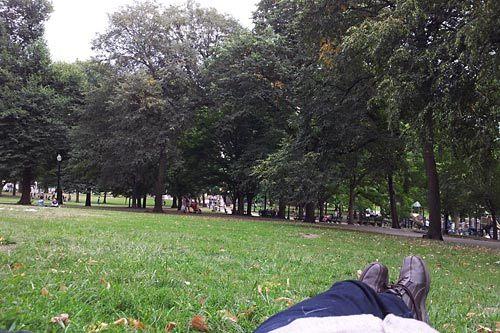 ボストンの公園でくつろぐ筆者