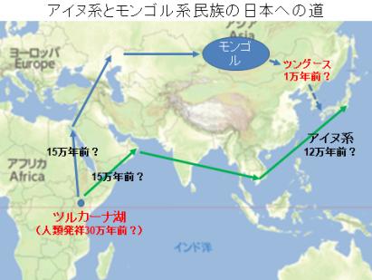 アイヌ系とモンゴル系のアフリカから日本への道
