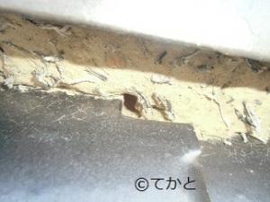屋根瓦,しっくいはがれ,土むき出し