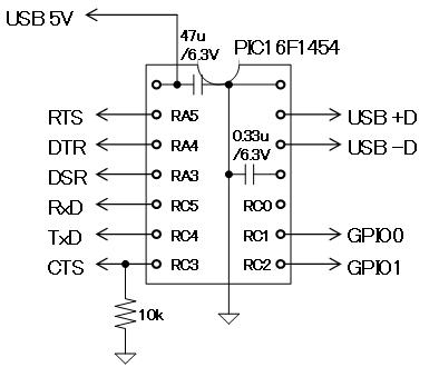 USB-Comエミュレータ(16F1454)簡易版回路図