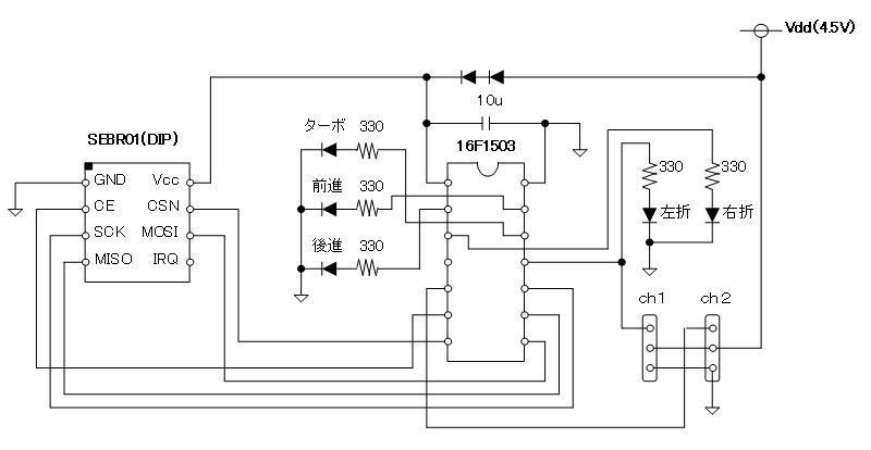 2.4GHzラジコン用ファームウェアのデモボード(回路図)受信側