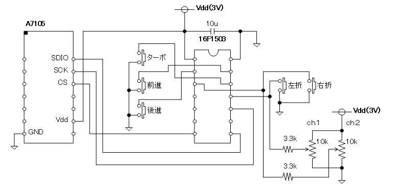 2.4GHzラジコン用ファームウェア製作(A7105)デモボード(回路図)送信側