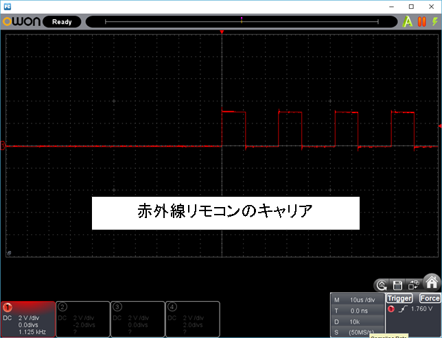 RF+IRチェッカーの製作IRキャリア評価のキャリア波形