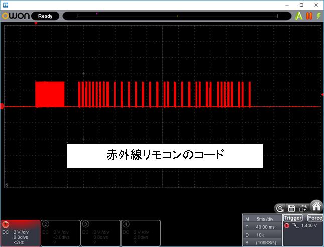 RF+IRチェッカーの製作IRキャリア評価のコード波形