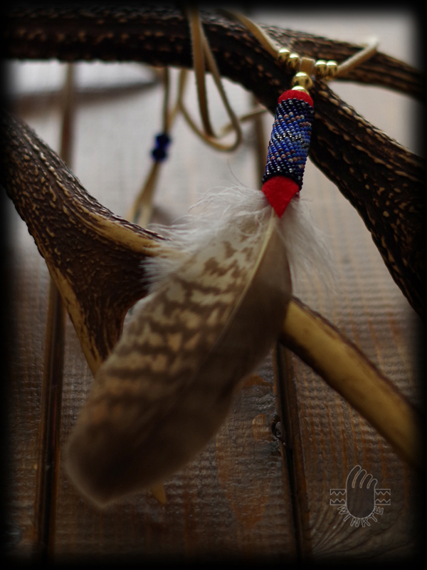 Beaded Feather Pendant Head 0 01
