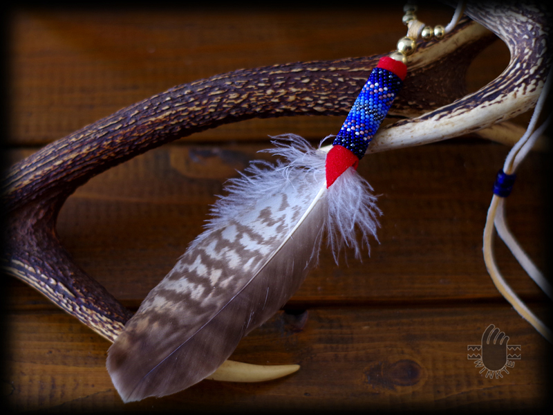 Beaded Feather Pendant Head 0 02