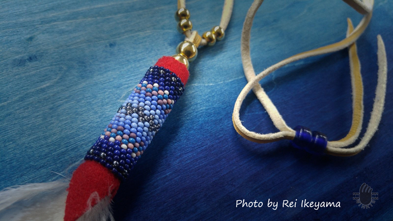 Beaded Feather Pendant Head 0 03