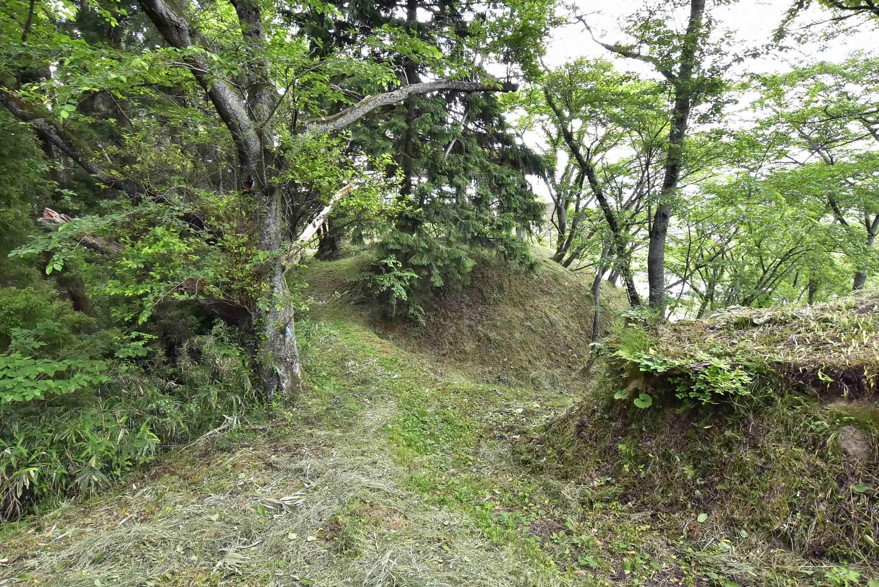 桑折城 貯水タンク先の堀切