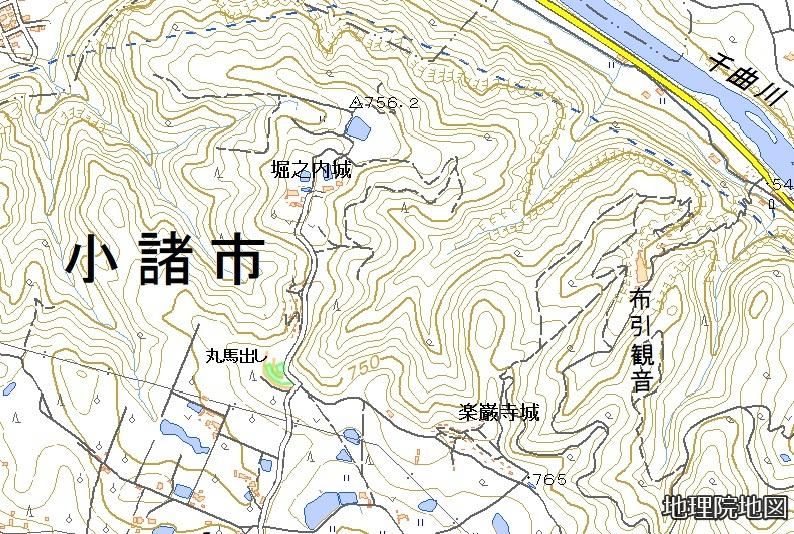 堀之内城楽巌寺城地形図