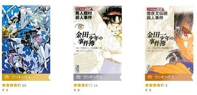 Kindleコミック、本日分の『無料マンガ』まとめ~金田一少年の事件簿ほか