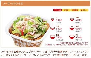シーザーレタス牛丼(お持ち帰り) | すき家