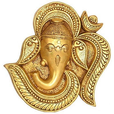 OM (オウム真理教) ガネーシャ壁掛け - 真鍮像