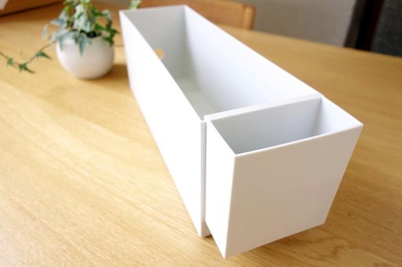 無印・ポリプロピレンファイルボックス・スタンダードタイプ・ホワイトグレー・1/2・ポリプロピレンファイルボックス用・ポケット②
