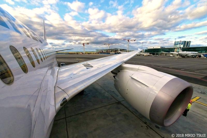 絶景探しの旅 - 0570 空が映るヘルシンキ国際空港のJAL機 (フィンランド)