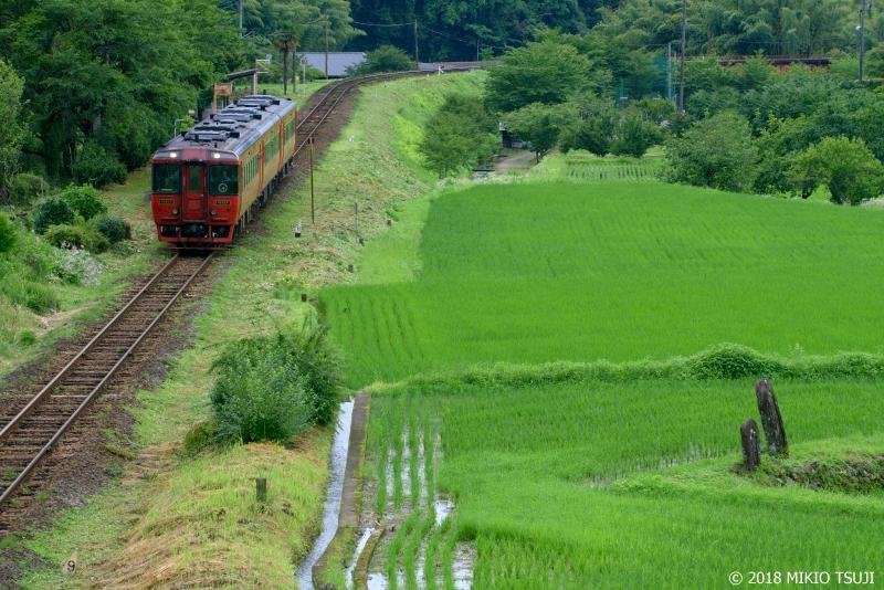 絶景探しの旅 - 0637墓標のある 田園を行く赤い特急ゆふ (大分県 九重町)