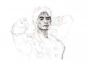 伊藤英明の鉛筆画似顔絵途中経過