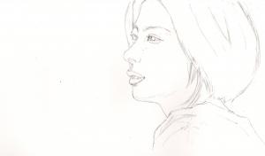 佐久間由衣の鉛筆画似顔絵途中経過