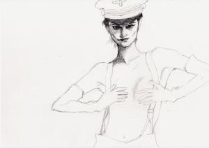 シャーロット・ランプリングの鉛筆画途中経過