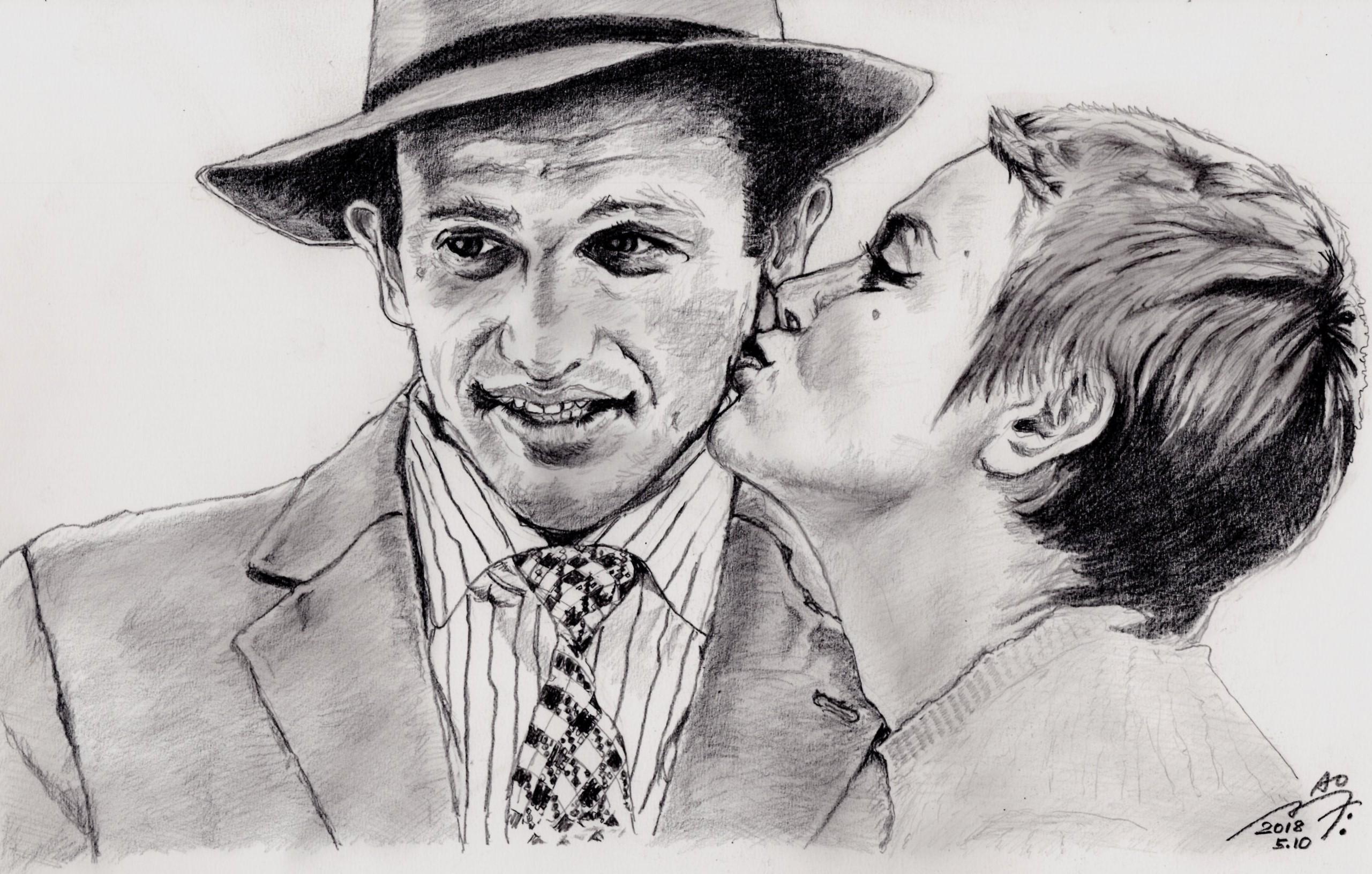 ジャン=ポール・ベルモンドの鉛筆画似顔絵
