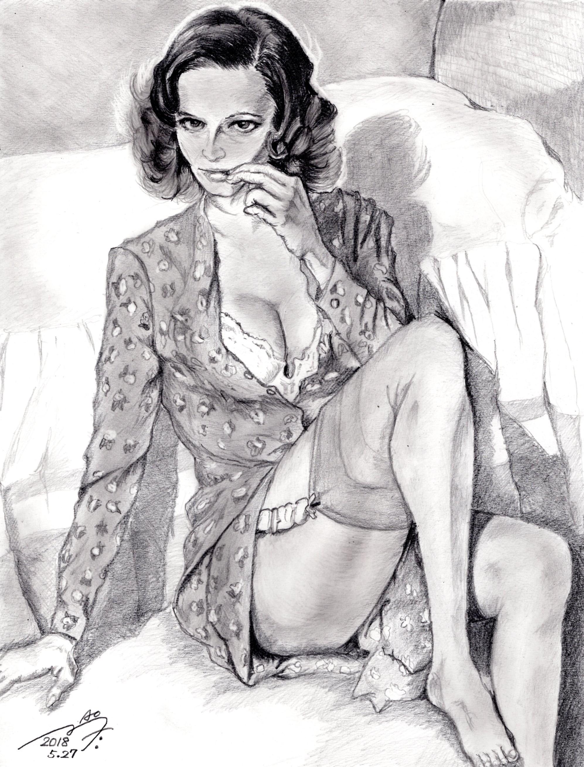 ラウラ・アントネッリの鉛筆画似顔絵