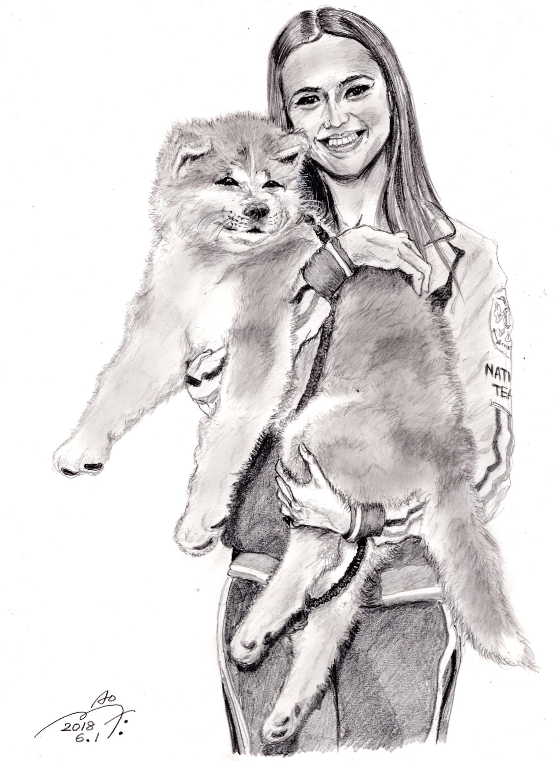 アリーナ・ザギトワ 選手と秋田犬「MASARU(マサル)」の鉛筆画似顔絵