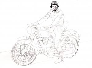 『大脱走』スティーブ・マックイーンの鉛筆画似顔絵途中経過