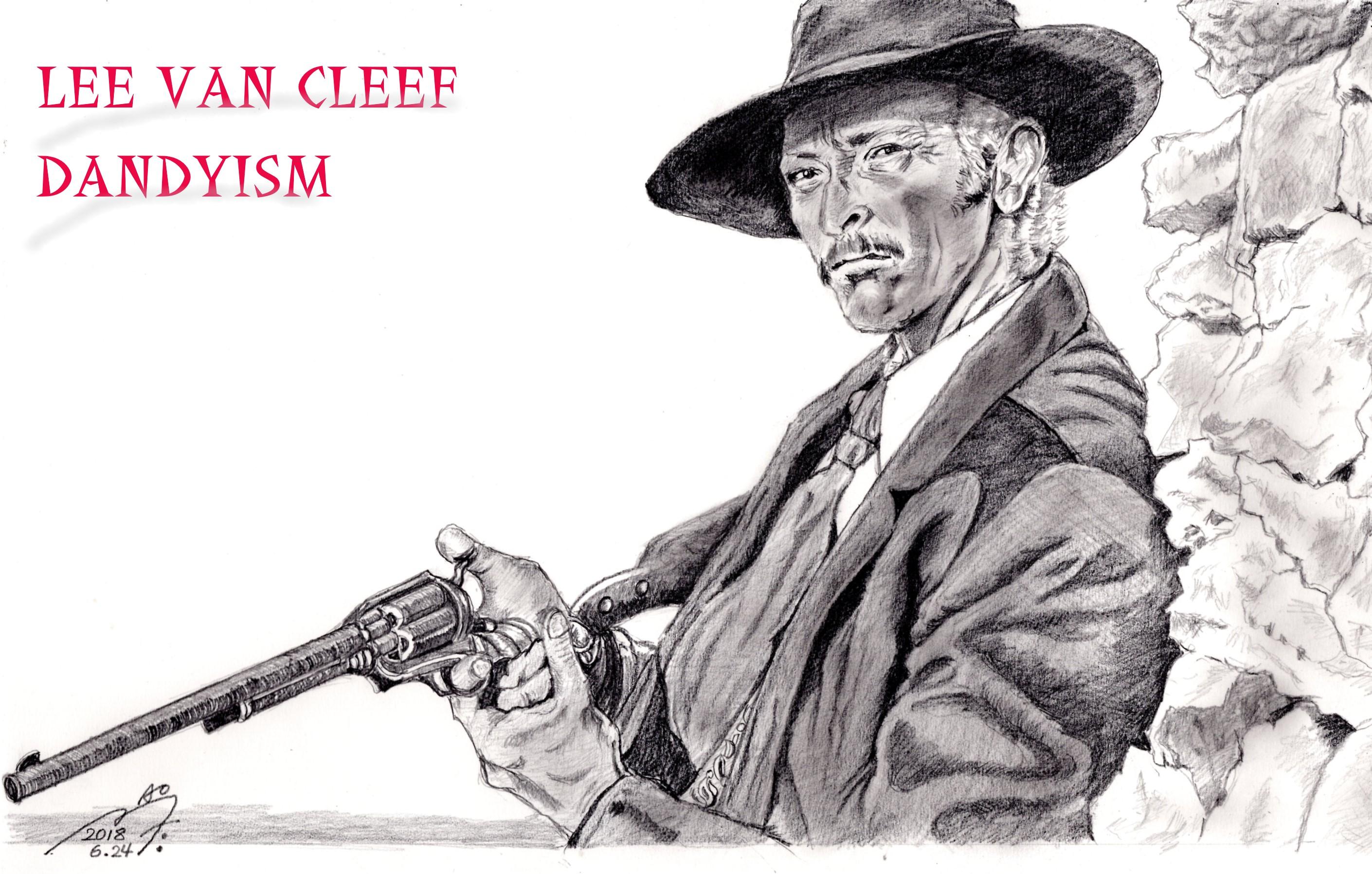 リー・ヴァン・クリーフ「夕陽のガンマン」の鉛筆画似顔絵