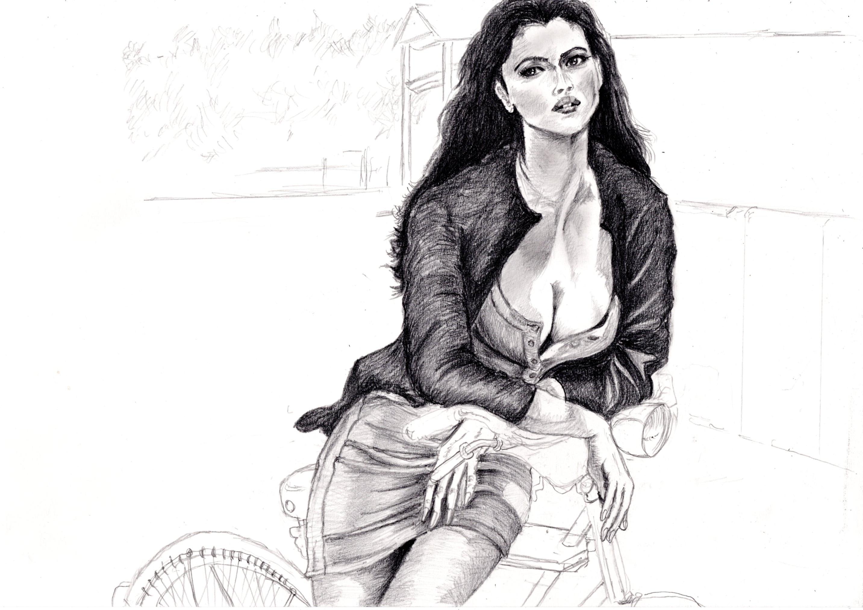 モニカ・ベルッチの鉛筆画似顔絵途中経過