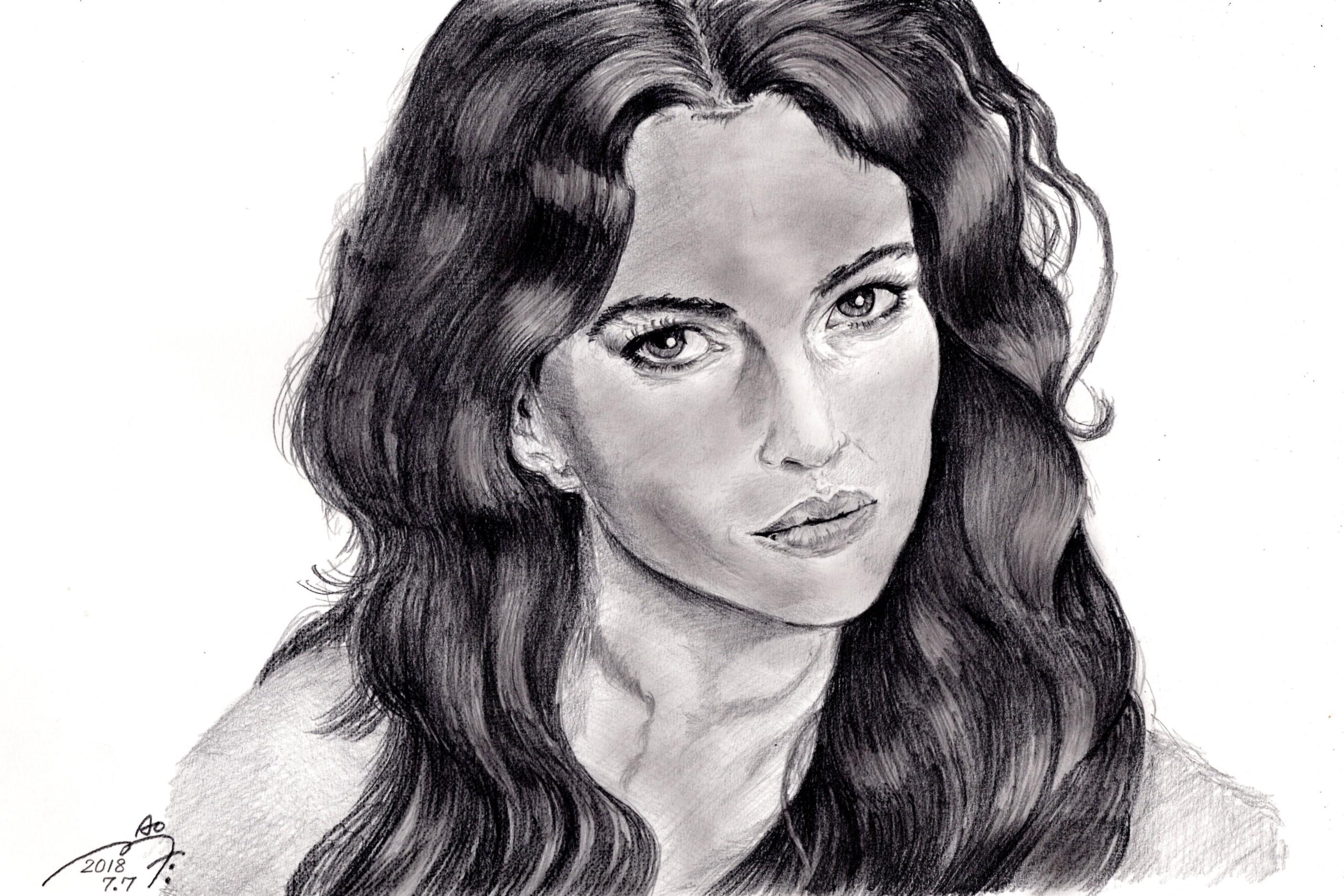 モニカ・ベルッチの鉛筆画似顔絵